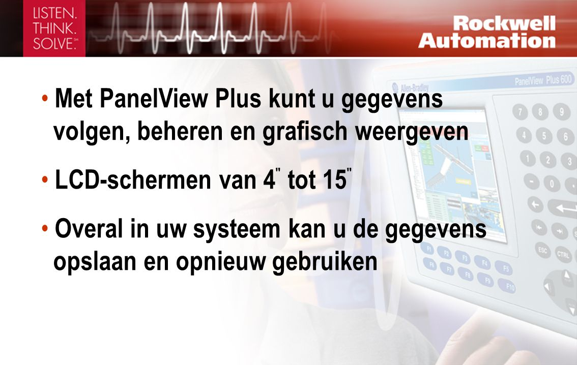 Met PanelView Plus kunt u gegevens volgen, beheren en grafisch weergeven