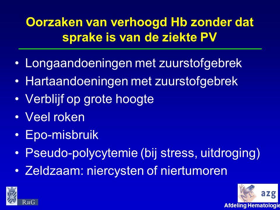Oorzaken van verhoogd Hb zonder dat sprake is van de ziekte PV