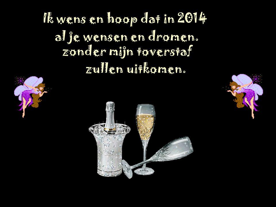 Ik wens en hoop dat in 2014 al je wensen en dromen. zonder mijn toverstaf zullen uitkomen.