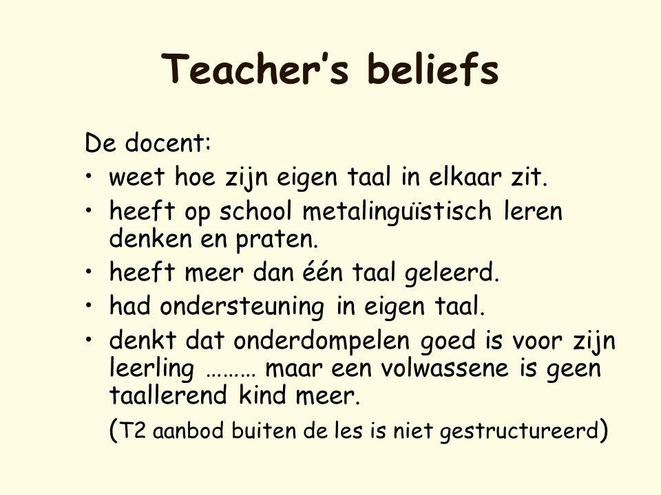 Teacher's beliefs De docent: weet hoe zijn eigen taal in elkaar zit.