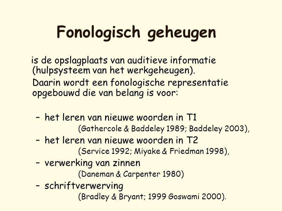 Fonologisch geheugen is de opslagplaats van auditieve informatie (hulpsysteem van het werkgeheugen).