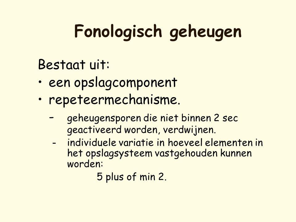 Fonologisch geheugen Bestaat uit: een opslagcomponent