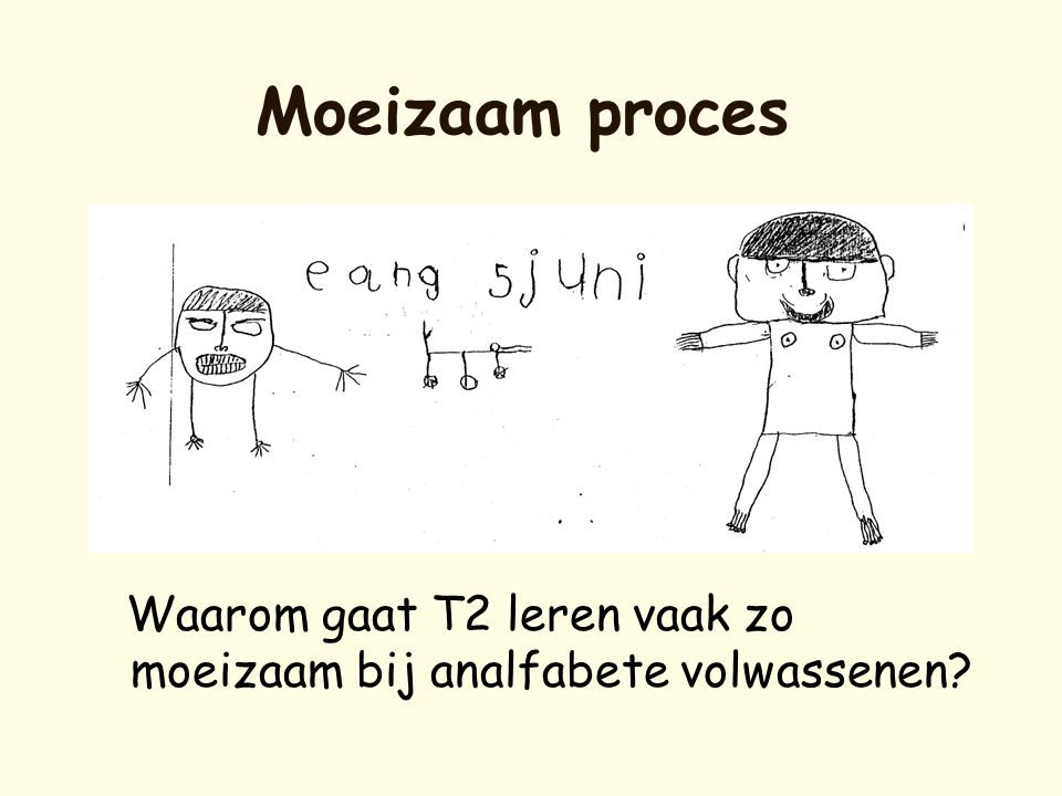 Moeizaam proces Waarom gaat T2 leren vaak zo moeizaam bij analfabete volwassenen