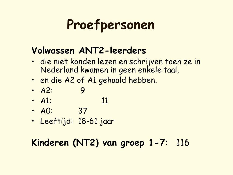 Proefpersonen Volwassen ANT2-leerders