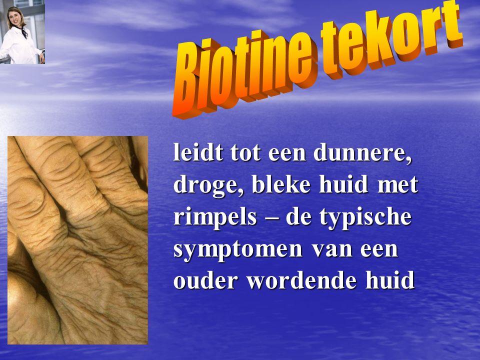 Biotine tekort leidt tot een dunnere, droge, bleke huid met rimpels – de typische symptomen van een ouder wordende huid.