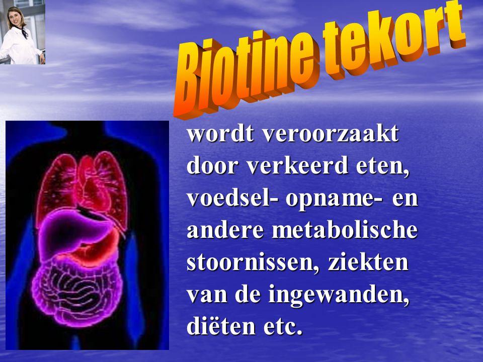 Biotine tekort wordt veroorzaakt door verkeerd eten, voedsel- opname- en andere metabolische stoornissen, ziekten van de ingewanden, diëten etc.