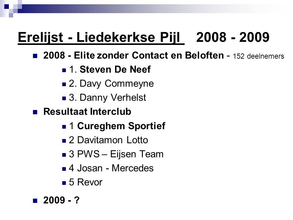Erelijst - Liedekerkse Pijl 2008 - 2009