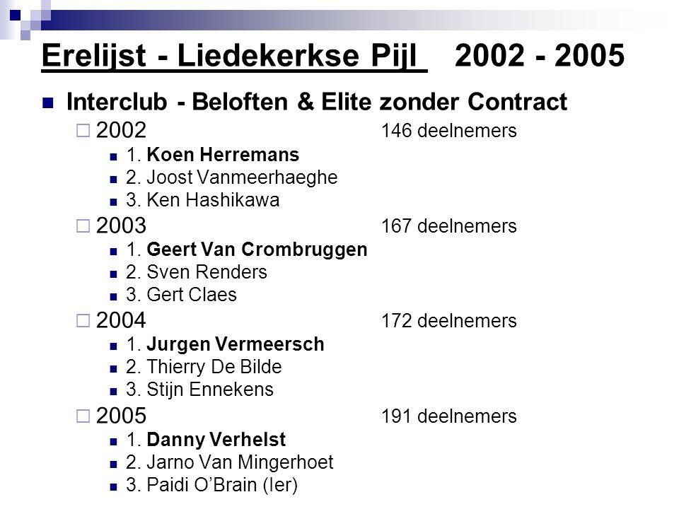 Erelijst - Liedekerkse Pijl 2002 - 2005