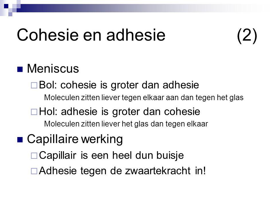 Cohesie en adhesie (2) Meniscus Capillaire werking