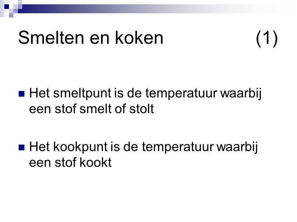 Smelten en koken (1) Het smeltpunt is de temperatuur waarbij een stof smelt of stolt.