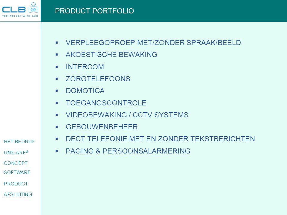 PRODUCT PORTFOLIO VERPLEEGOPROEP MET/ZONDER SPRAAK/BEELD. AKOESTISCHE BEWAKING. INTERCOM. ZORGTELEFOONS.