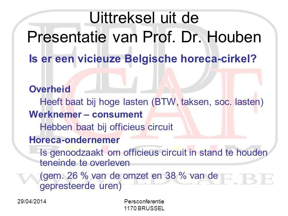 Uittreksel uit de Presentatie van Prof. Dr. Houben