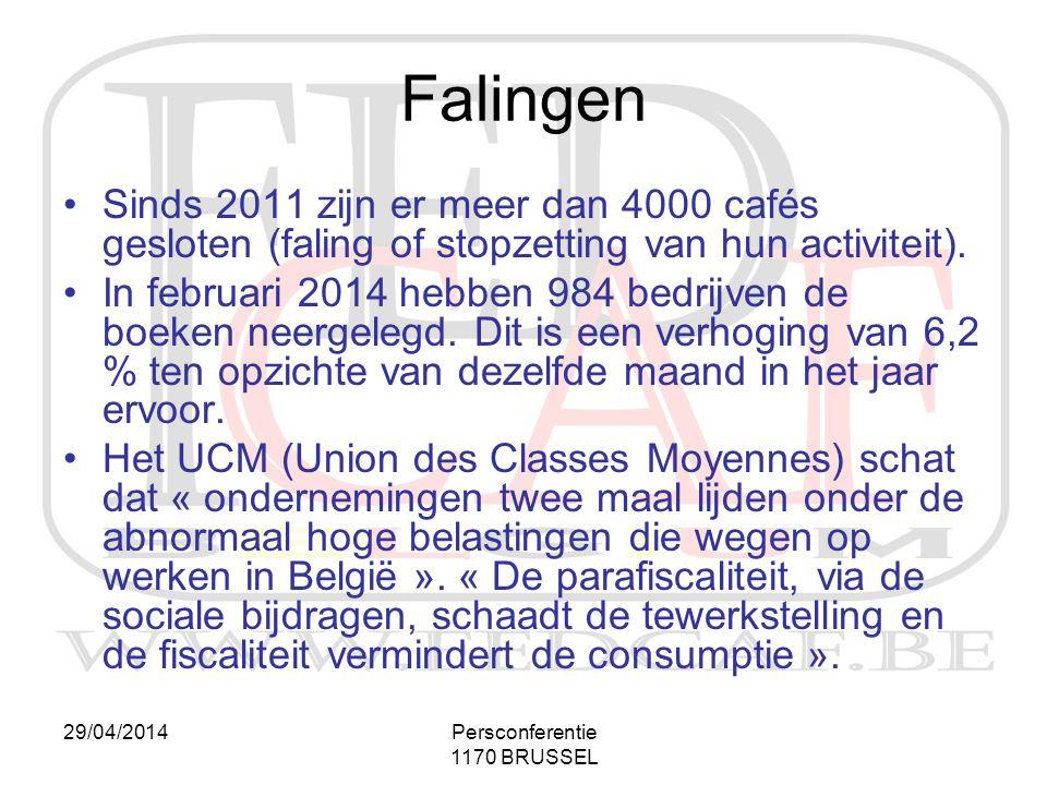 Falingen Sinds 2011 zijn er meer dan 4000 cafés gesloten (faling of stopzetting van hun activiteit).