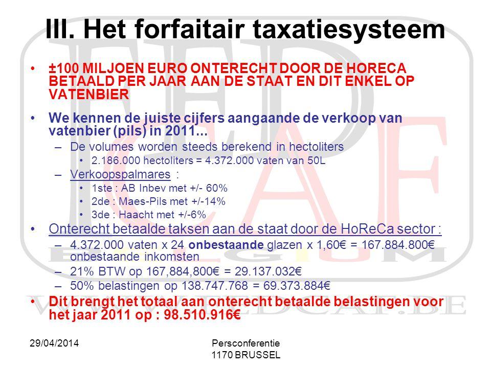 III. Het forfaitair taxatiesysteem