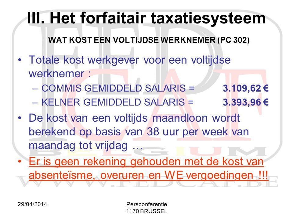 III. Het forfaitair taxatiesysteem WAT KOST EEN VOLTIJDSE WERKNEMER (PC 302)