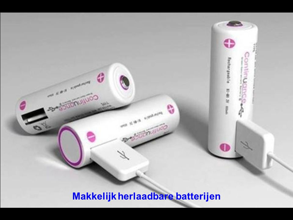 Makkelijk herlaadbare batterijen
