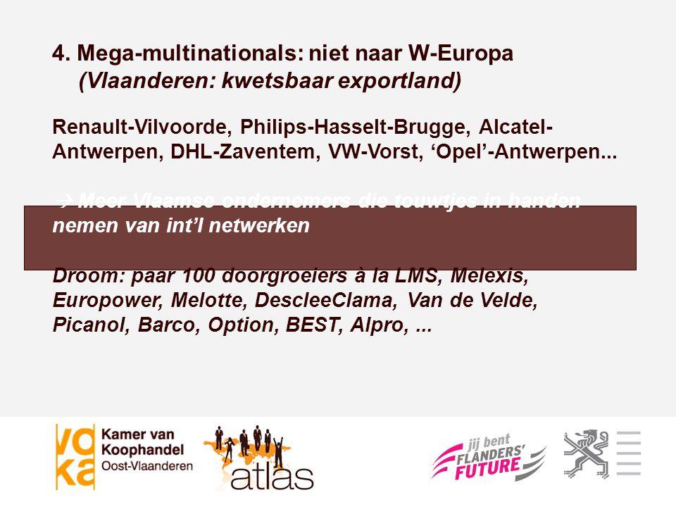 4. Mega-multinationals: niet naar W-Europa (Vlaanderen: kwetsbaar exportland)