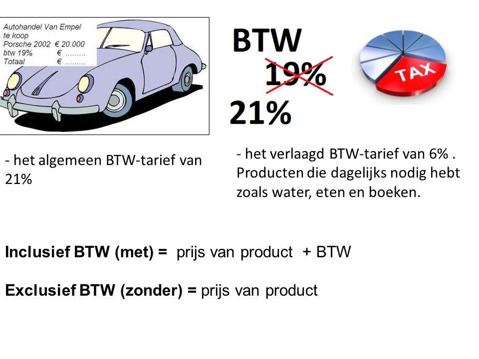 - het verlaagd BTW-tarief van 6%