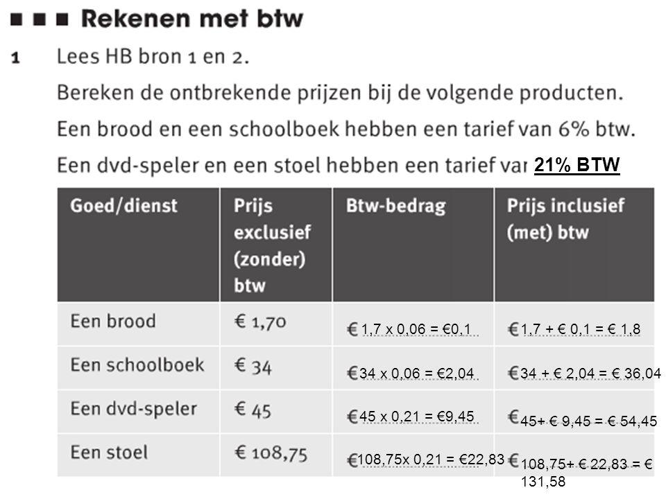 21% BTW 1,7 x 0,06 = €0,1. 1,7 + € 0,1 = € 1,8. 34 x 0,06 = €2,04. 34 + € 2,04 = € 36,04. 45 x 0,21 = €9,45.