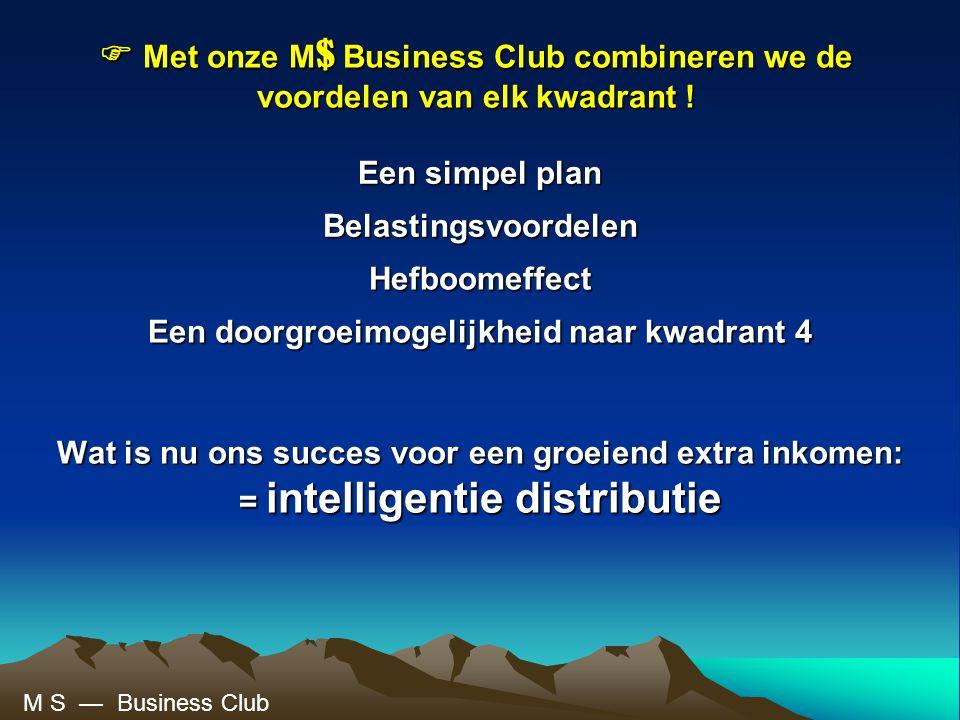  Met onze M$ Business Club combineren we de voordelen van elk kwadrant !