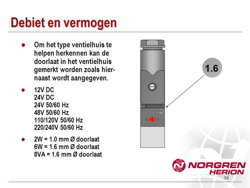 Debiet en vermogen Om het type ventielhuis te helpen herkennen kan de doorlaat in het ventielhuis gemerkt worden zoals hier-naast wordt aangegeven.