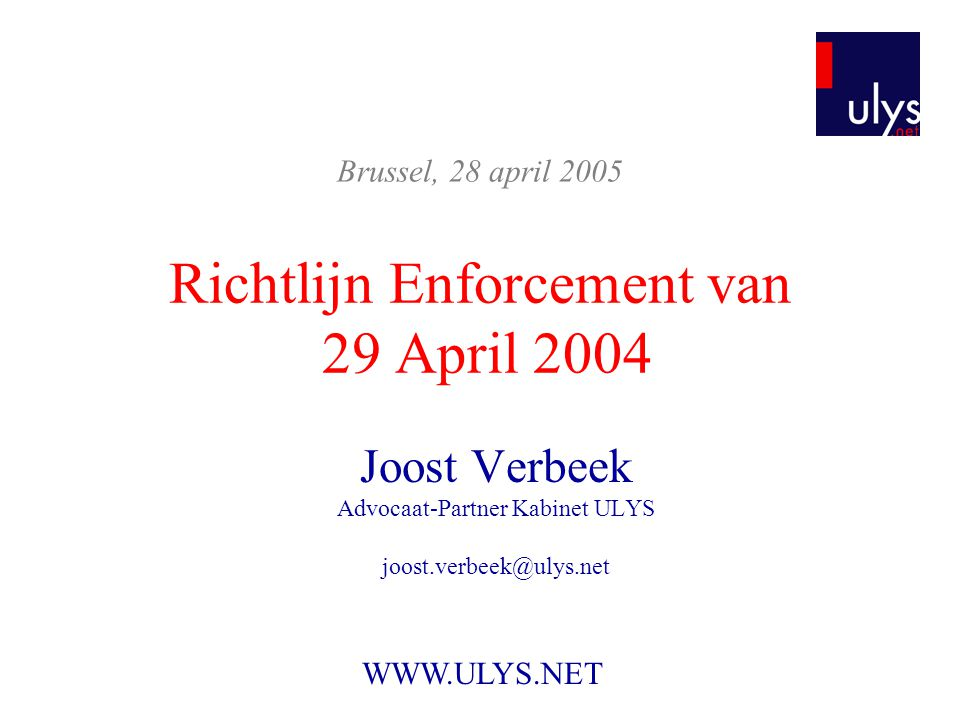 Richtlijn Enforcement van 29 April 2004