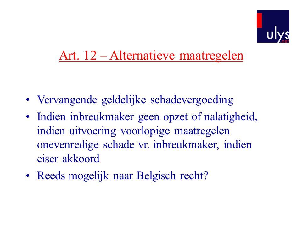 Art. 12 – Alternatieve maatregelen