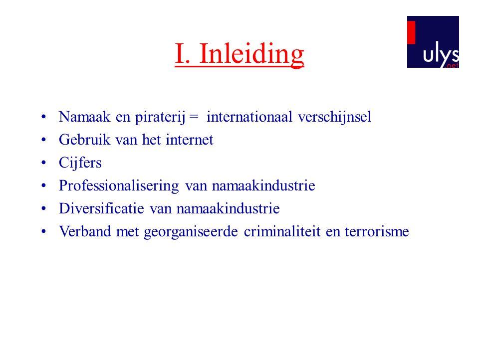 I. Inleiding Namaak en piraterij = internationaal verschijnsel