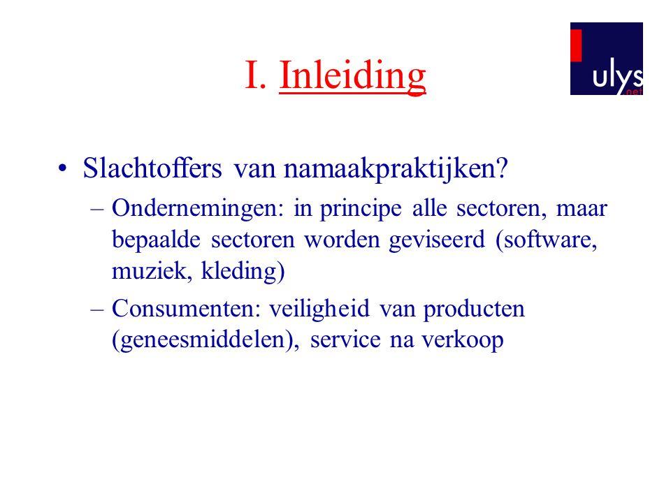 I. Inleiding Slachtoffers van namaakpraktijken
