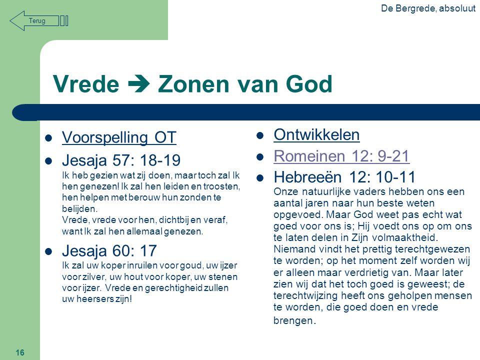 Vrede  Zonen van God Voorspelling OT Ontwikkelen Romeinen 12: 9-21