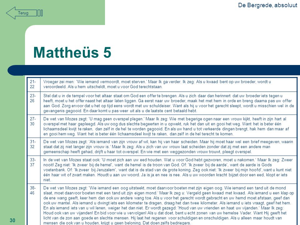 Mattheüs 5 De Bergrede, absoluut Terug 21-22