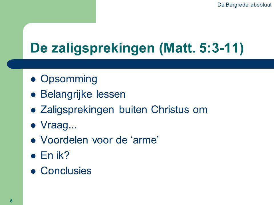 De zaligsprekingen (Matt. 5:3-11)