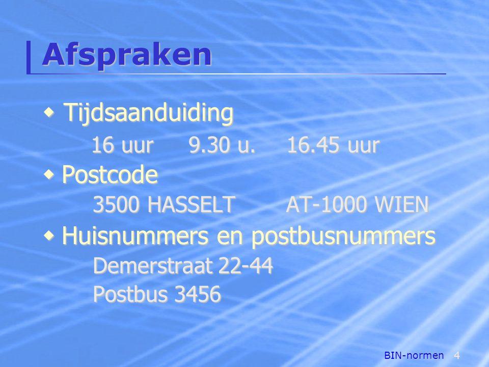 Afspraken Tijdsaanduiding Postcode Huisnummers en postbusnummers