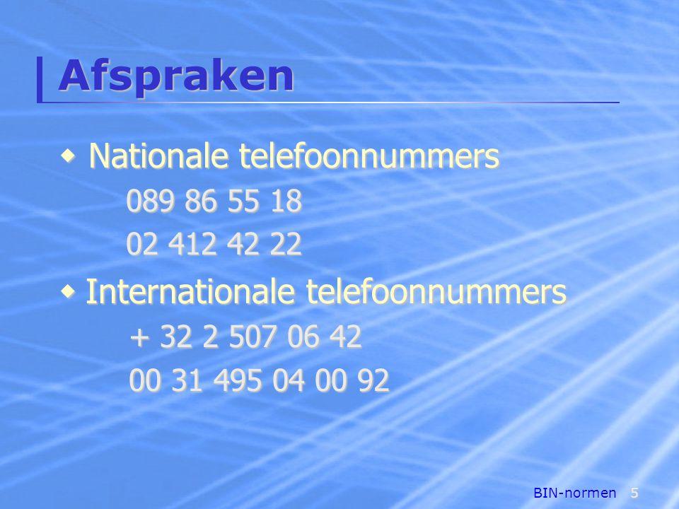 Afspraken Nationale telefoonnummers Internationale telefoonnummers