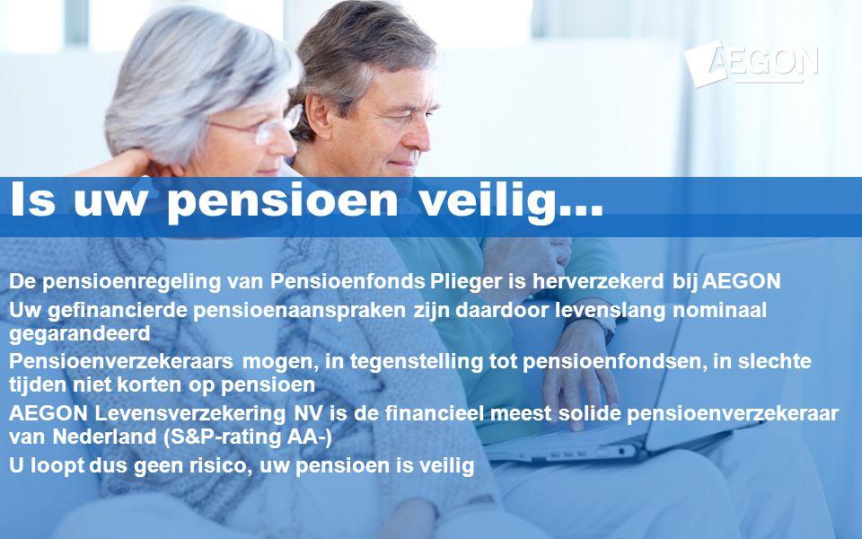 Is uw pensioen veilig… De pensioenregeling van Pensioenfonds Plieger is herverzekerd bij AEGON.