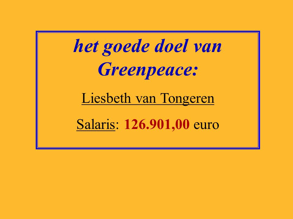 het goede doel van Greenpeace: