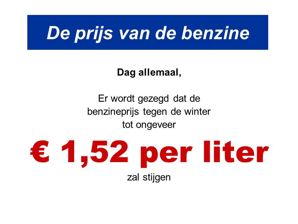 benzineprijs tegen de winter
