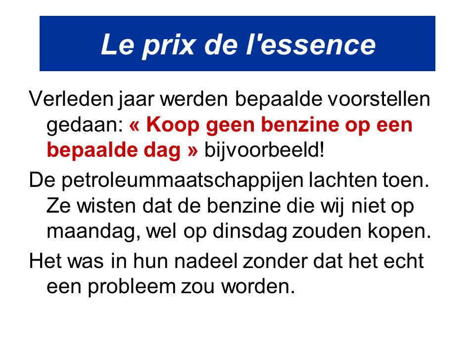 Le prix de l essence Verleden jaar werden bepaalde voorstellen gedaan: « Koop geen benzine op een bepaalde dag » bijvoorbeeld!
