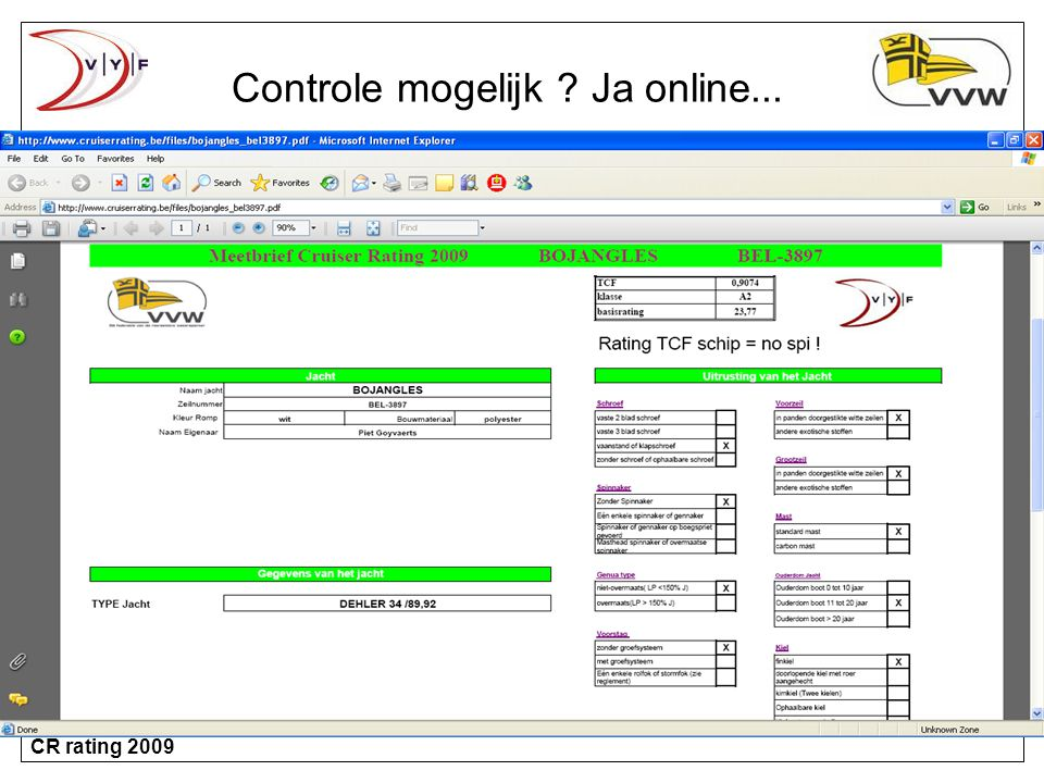 Controle mogelijk Ja online...