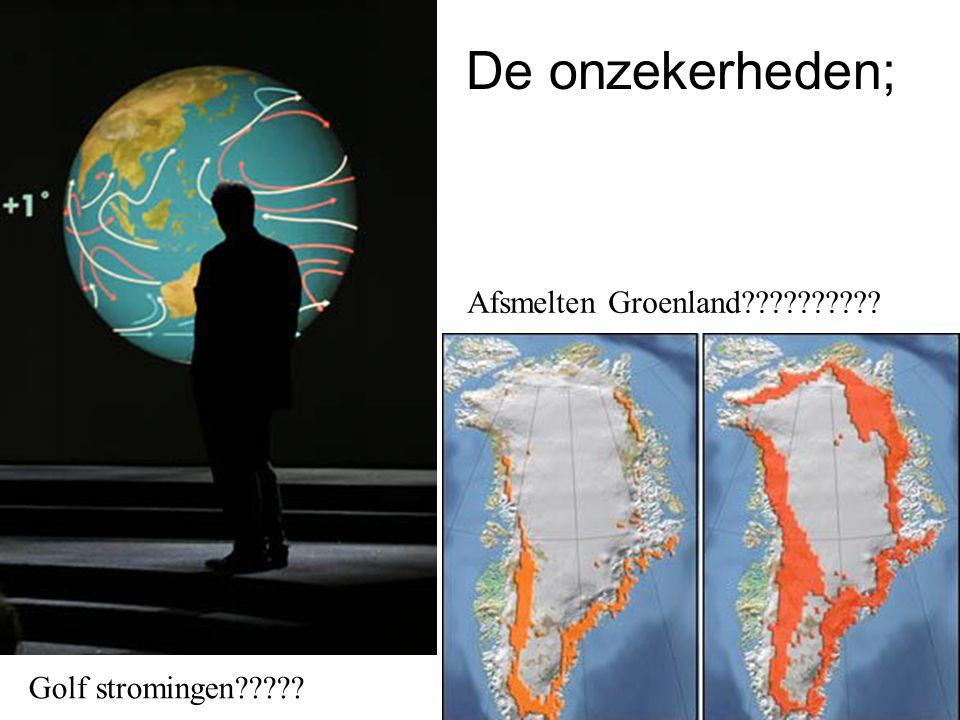 De onzekerheden; Afsmelten Groenland Golf stromingen