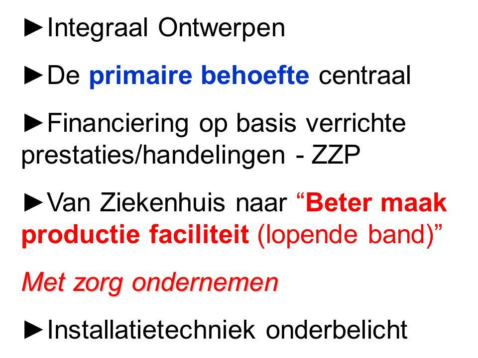 ►Integraal Ontwerpen ►De primaire behoefte centraal. ►Financiering op basis verrichte prestaties/handelingen - ZZP.