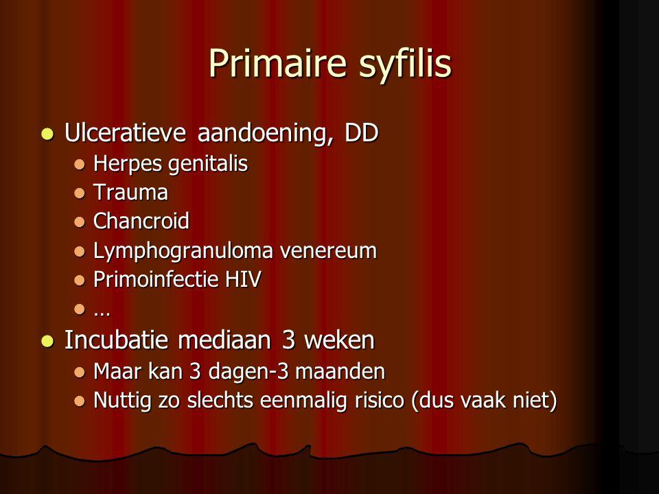 Primaire syfilis Ulceratieve aandoening, DD Incubatie mediaan 3 weken