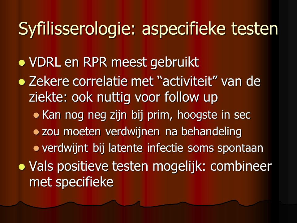 Syfilisserologie: aspecifieke testen