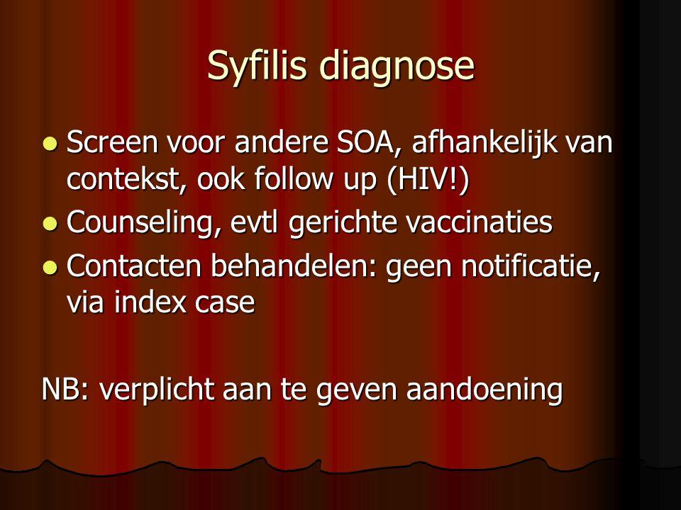 Syfilis diagnose Screen voor andere SOA, afhankelijk van contekst, ook follow up (HIV!) Counseling, evtl gerichte vaccinaties.