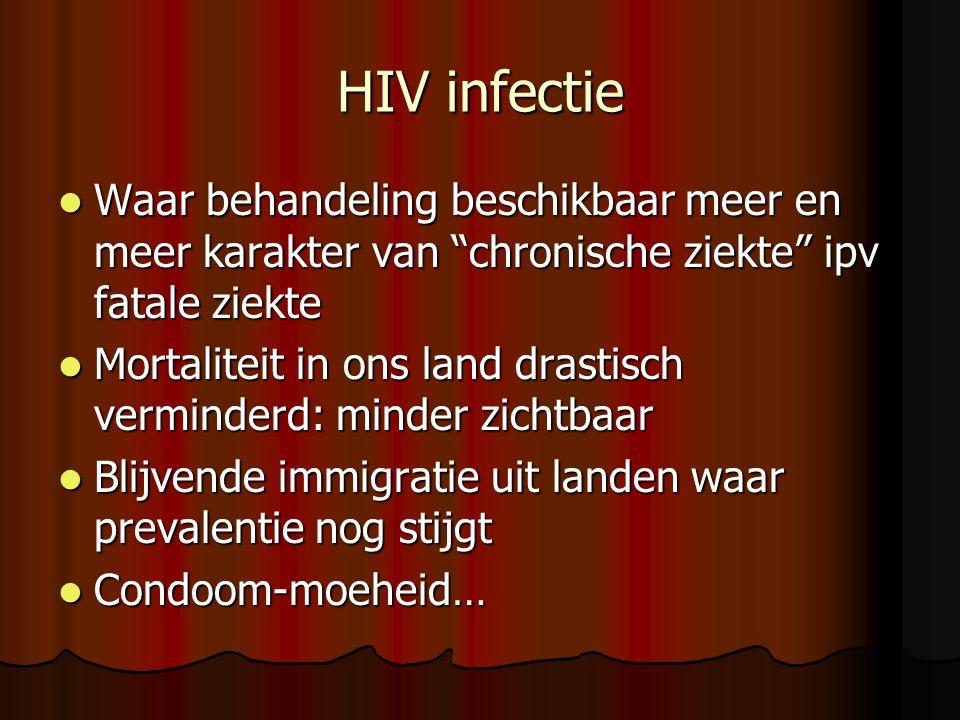 HIV infectie Waar behandeling beschikbaar meer en meer karakter van chronische ziekte ipv fatale ziekte.