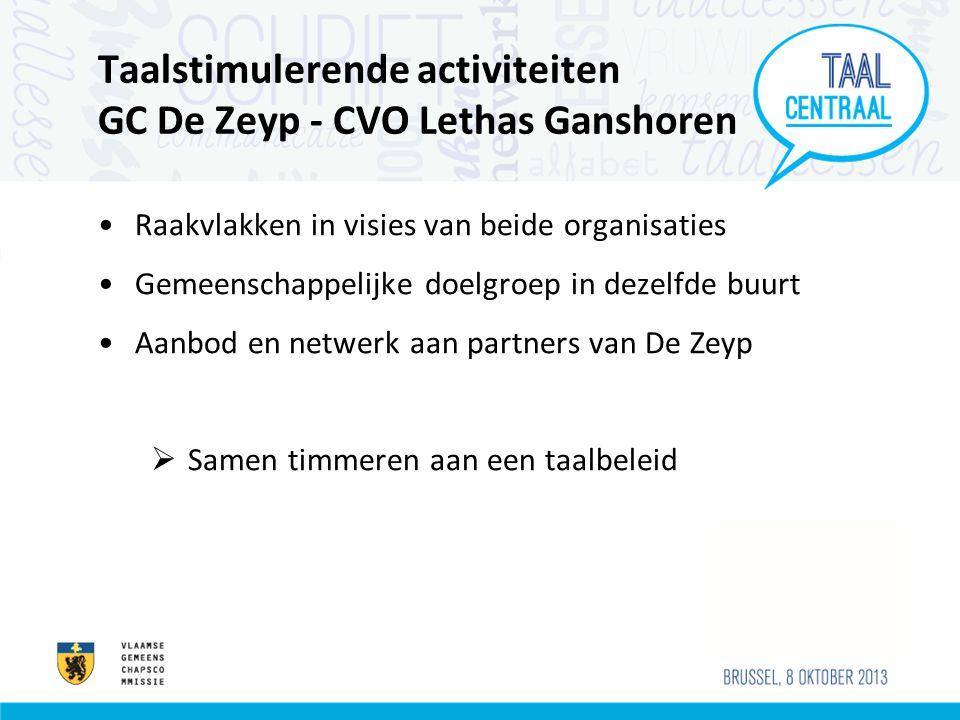 Taalstimulerende activiteiten GC De Zeyp - CVO Lethas Ganshoren