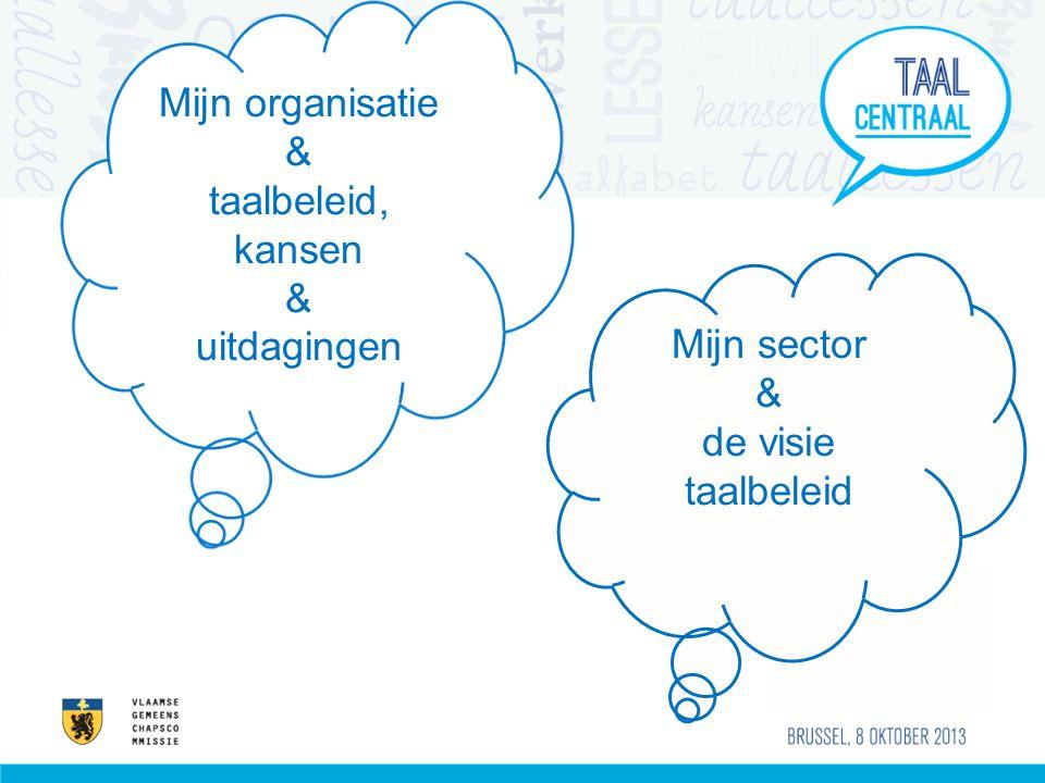 Mijn organisatie & taalbeleid, kansen uitdagingen Mijn sector & de visie taalbeleid