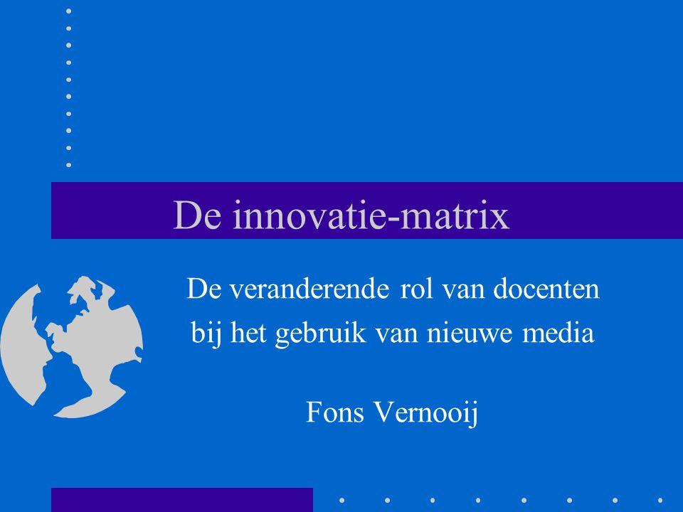 De innovatie-matrix De veranderende rol van docenten