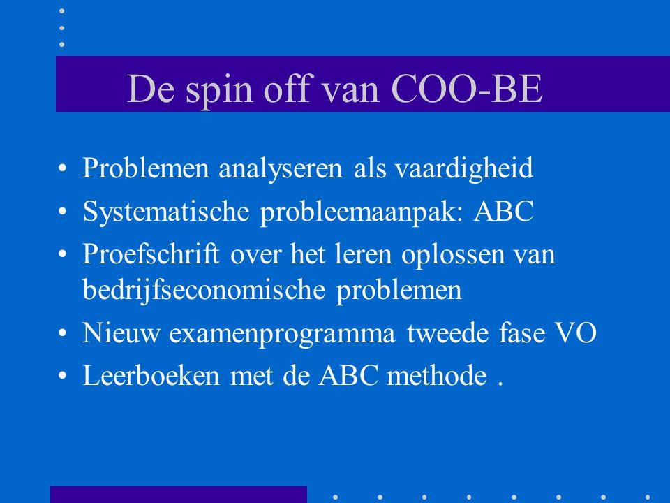 De spin off van COO-BE Problemen analyseren als vaardigheid