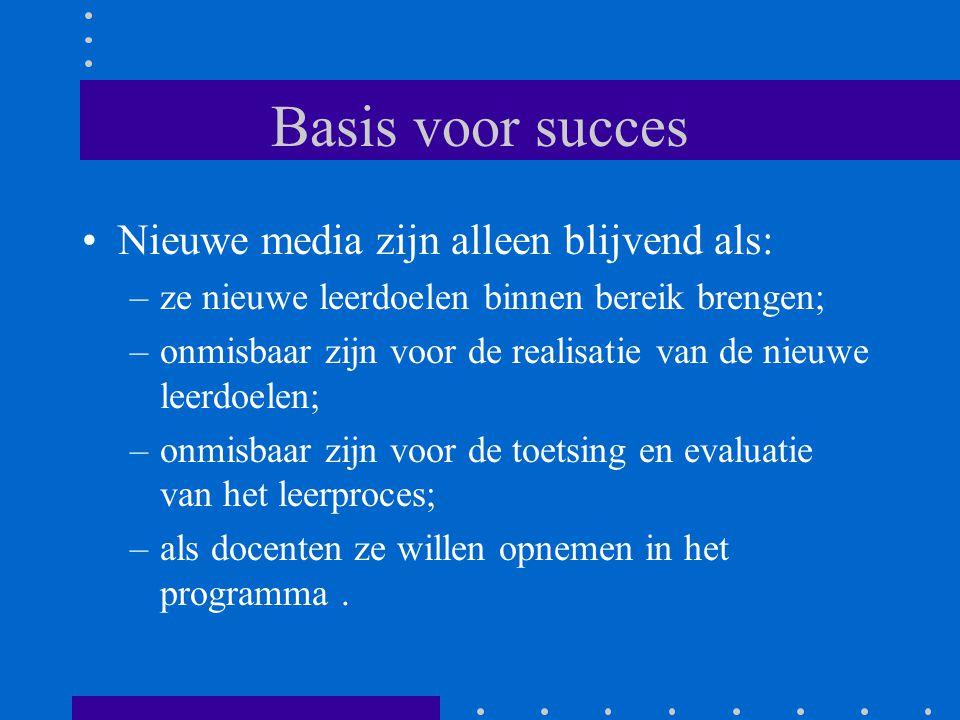Basis voor succes Nieuwe media zijn alleen blijvend als: